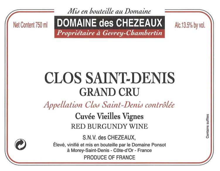 Domaine des Chezeaux Clos St-Denis label