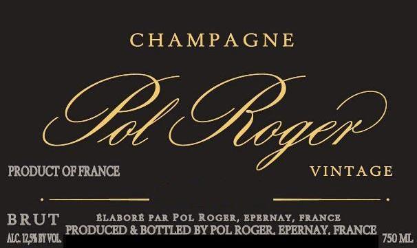 Pol Roger Brut Vintage Label