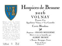 Hospices Volnay Blondeau 2016 label