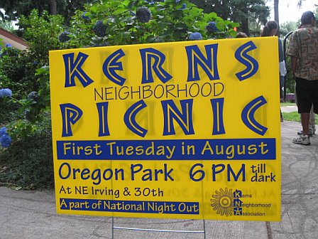 kerns picnic sign