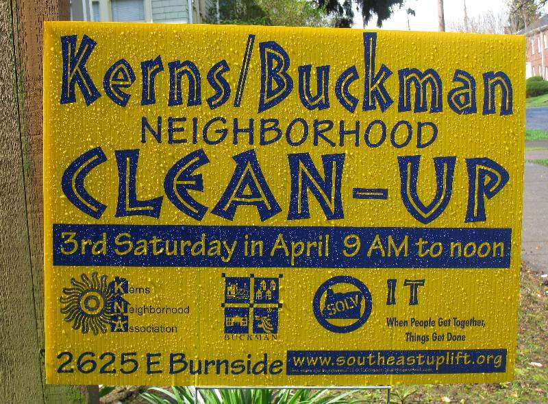 Kerns / Buckman Cleanup Sign