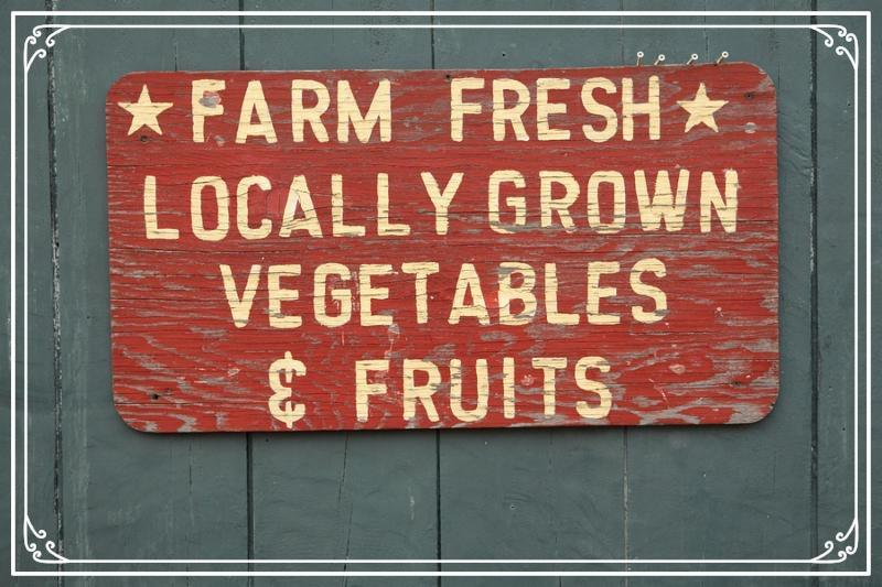 FARM FRESH vegtables and fruits sign at farmers market