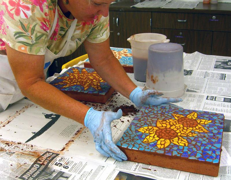 Sharon grouting mosaic stepping stones
