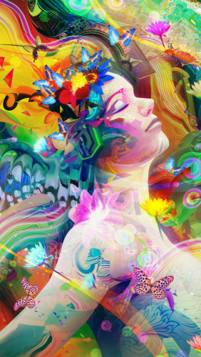 Abstract and vibrant_ spring and summer design with a woman and butterflies_ flower floating in the wind.
