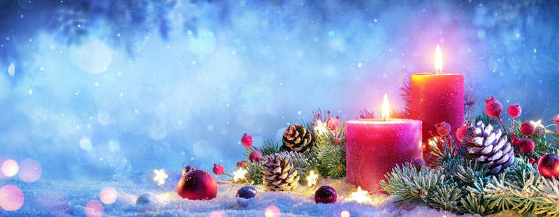 Newsletter masthead - winter candles