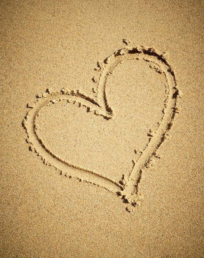 Photo of heart in sand