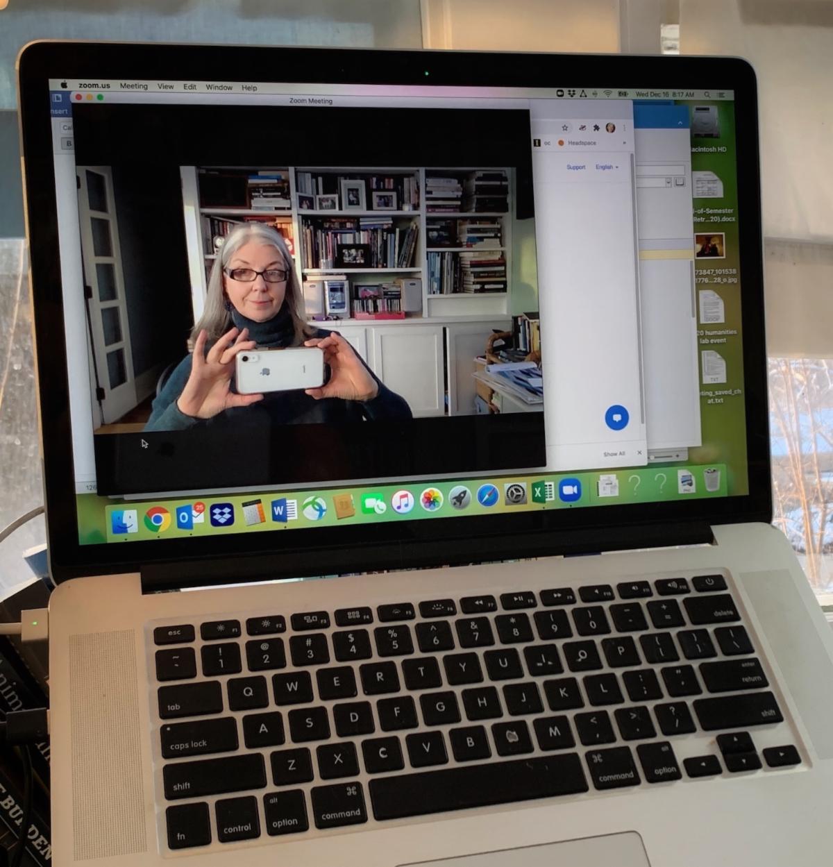Teresa taking selfie on Zoom