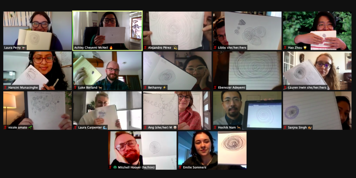 screen shot of graduate institute participants on zoom grid holding up spiral journal activity