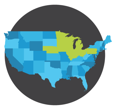 Humanities Without Walls logo_ blue map of U.S. with consortium states highlighted green