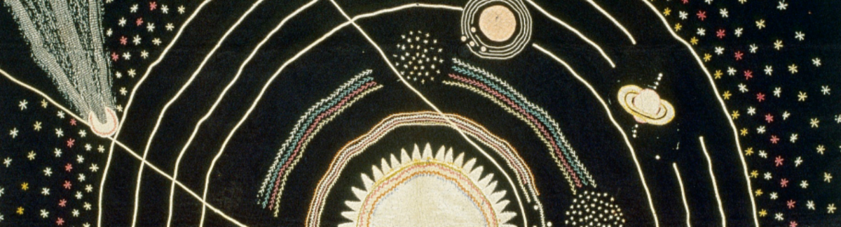 Photograph of 1876 quilt by Ellen Harding Baker depicting the solar system