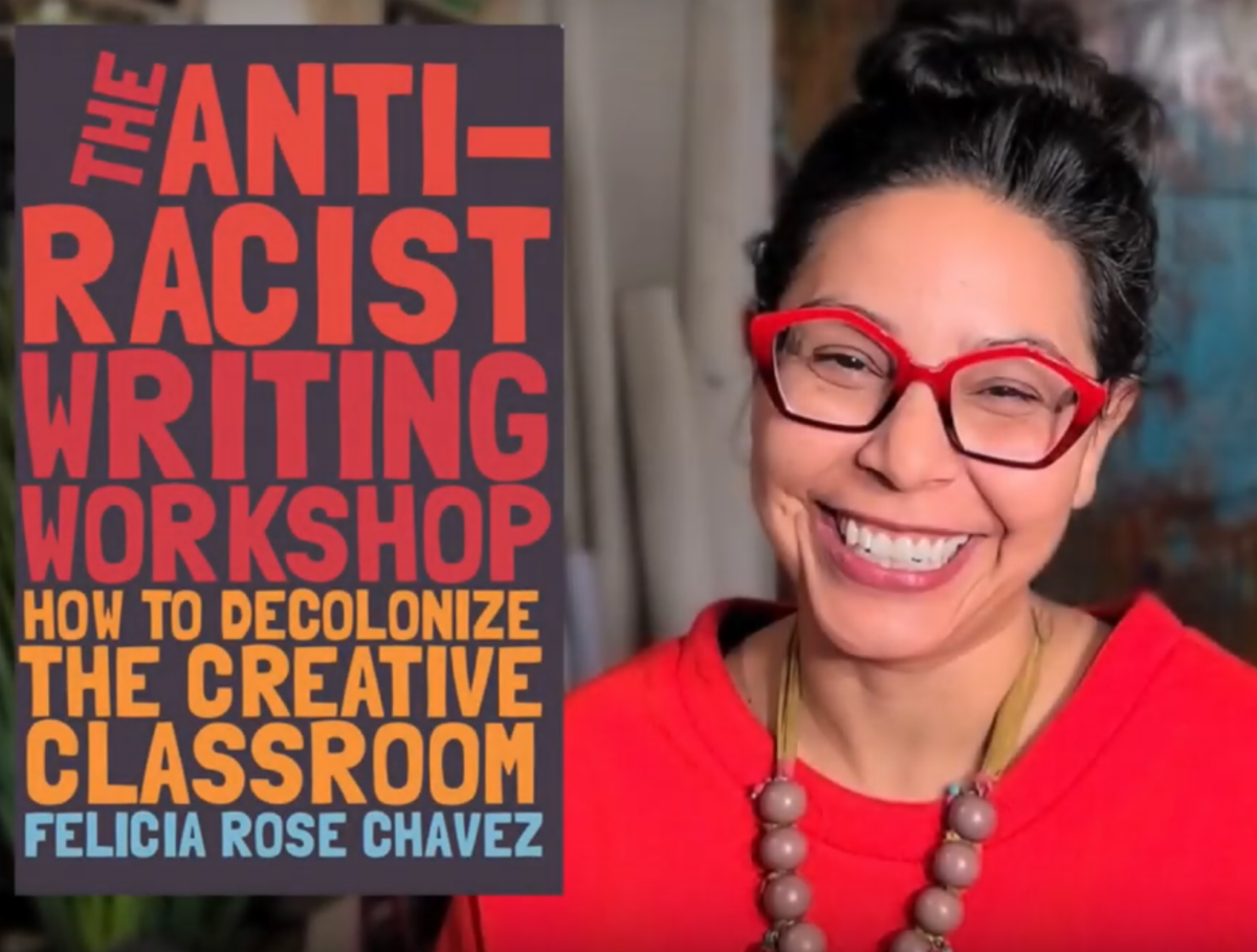Head shot of Felicia Rose Chavez next to her book cover, which is the title in colorful block lettering