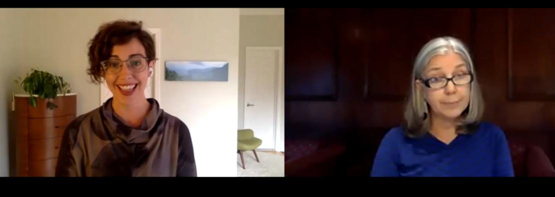 Screenshot of OCAS Director Professor Teresa Mangum in zoom conversation with CUNY's Dr. Katina Rogers.