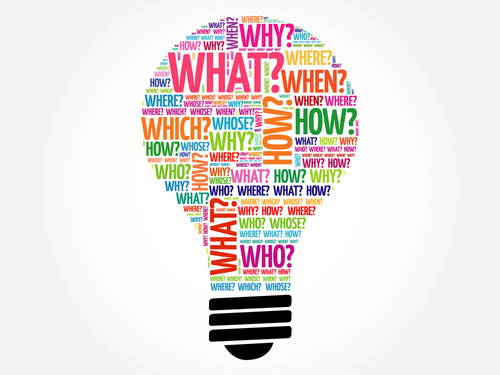 Question words bulb_ word cloud concept