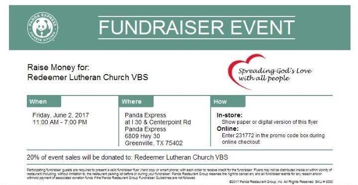 PANDA EXPRESS - Vacation Bible School Fundraiser
