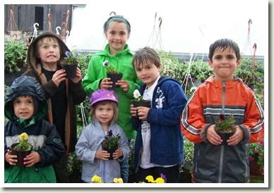 Kids with Pansies