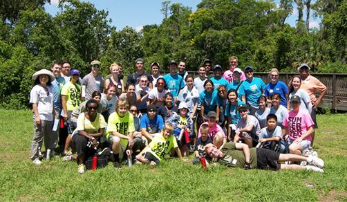 Group of volunteers in natural area