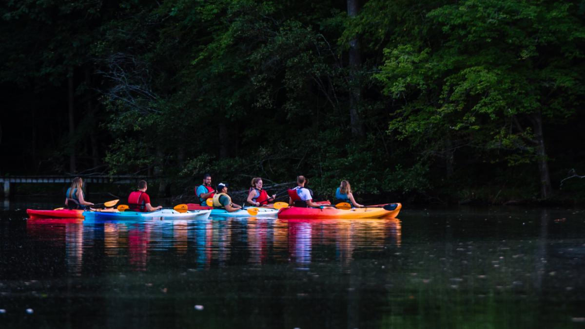 Men and women kayaking