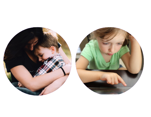 Young boy with mom, girl with Ipad
