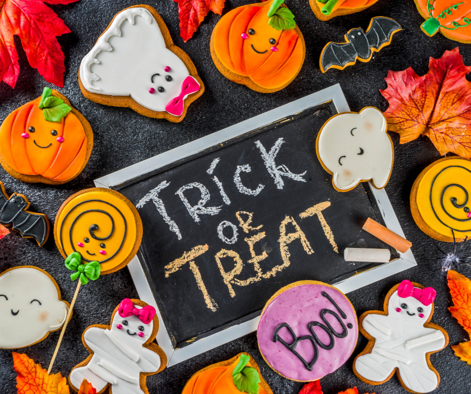 Trick or Treat sign with Halloween cookies