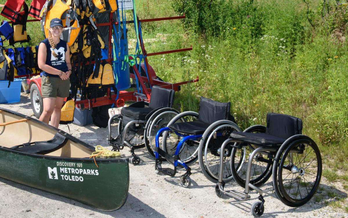 Image of Metroparks canoeing with wheelchairs in the space.