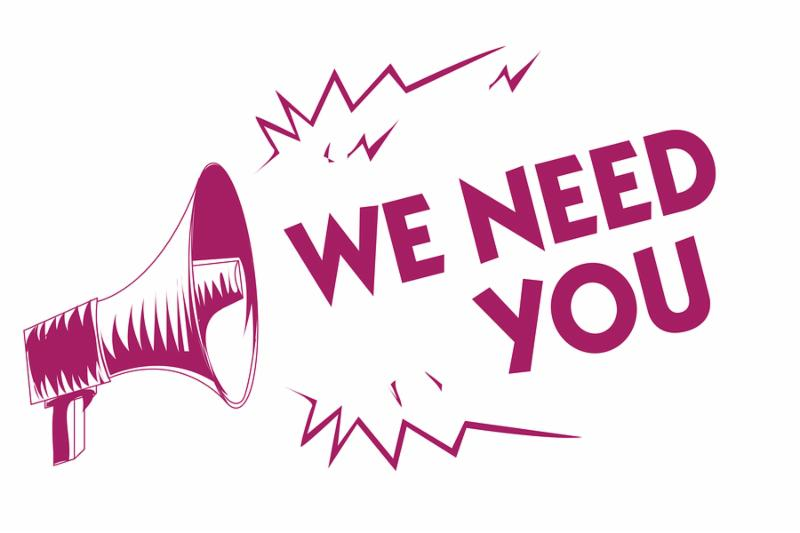 Conceptual hand writing showing We Need You. Business photo showcasing Employee Help Need Workers Recruitment Headhunting Employment Purple megaphone important message screaming speaking loud.