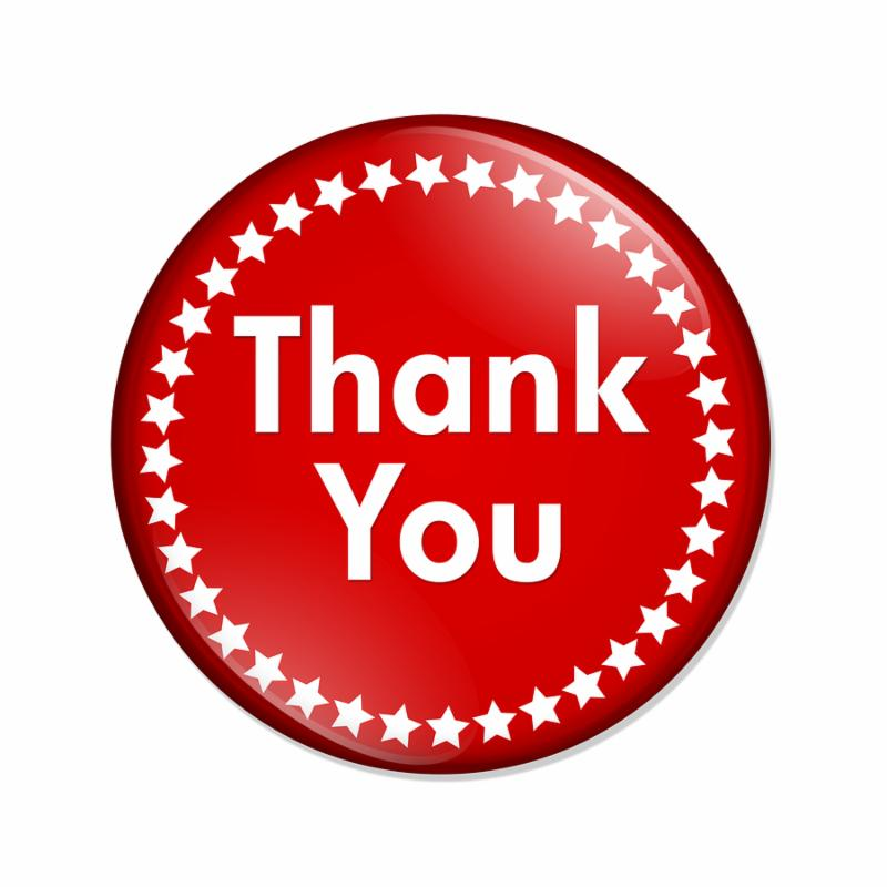 A red button with words thank you and stars isolated on a white background Thank You button