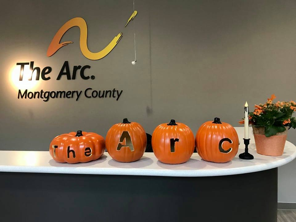 """Pumpkins in The Arc Montgomery County's new office spelling out """"The Arc."""""""