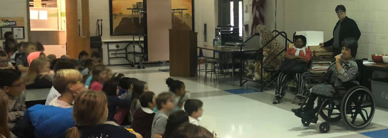Self-Advocate Vivian Greer gives a presentation on inclusion in schools to students at Chapel District Elementary School.