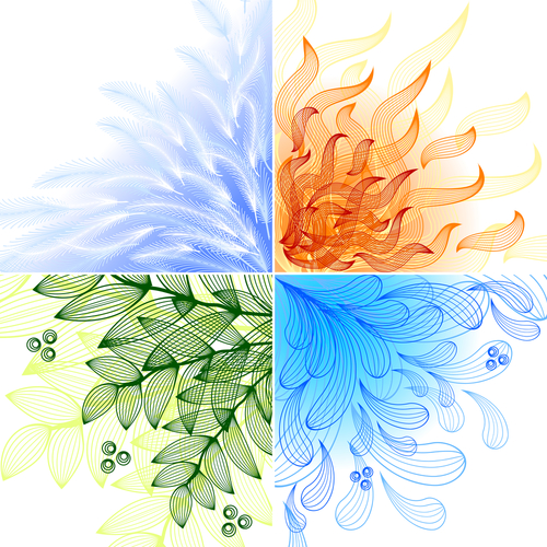4 elements. Set of four beautiful backgrounds. Raster version. Vector is also available in my gallery