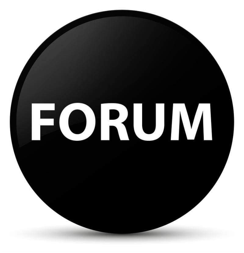 Forum isolated on black round button abstract illustration