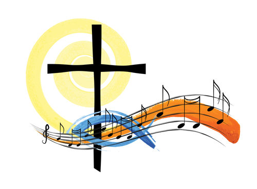 Religious church music hymn book graphic design_ watercolor style abstract artistic choir illustration for spiritual concert or songs.