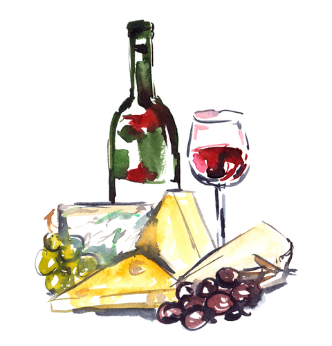 Bottle of red wine_ glass and variety of cheese and grapes painted in watercolor on white isolated background