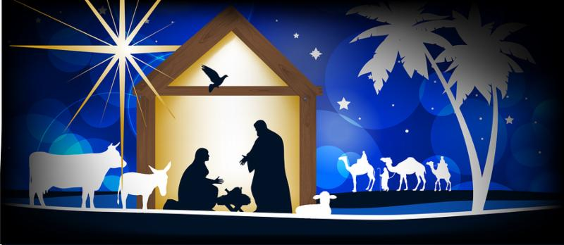 Christmas Christian nativity scene_ three wise men or kings_ farm animals and star of Bethlehem