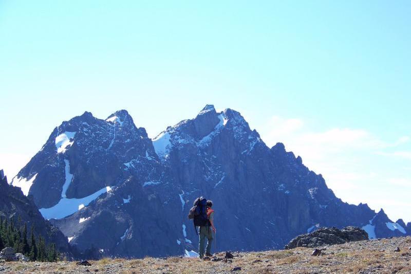 A hiker at Charlia Pass