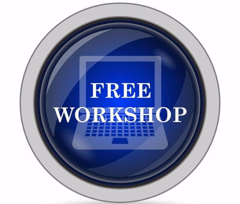 Free workshop icon. Internet button on white background.