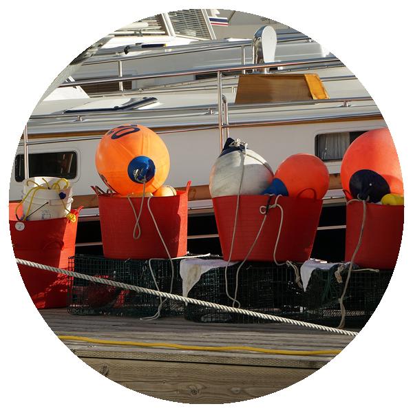 Buoys on a fishing pier