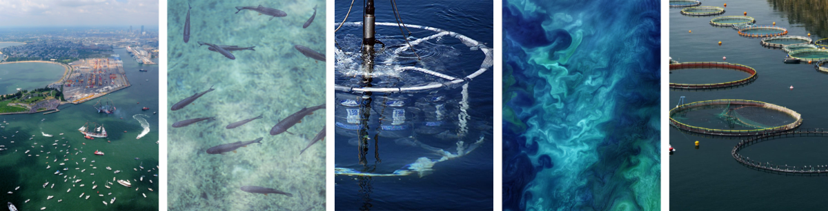 Banner collage depicting Massachusetts Bay, fish underwater, an underwater charging technology, NASA satellite ocean imagery, and offshore aquaculture pens