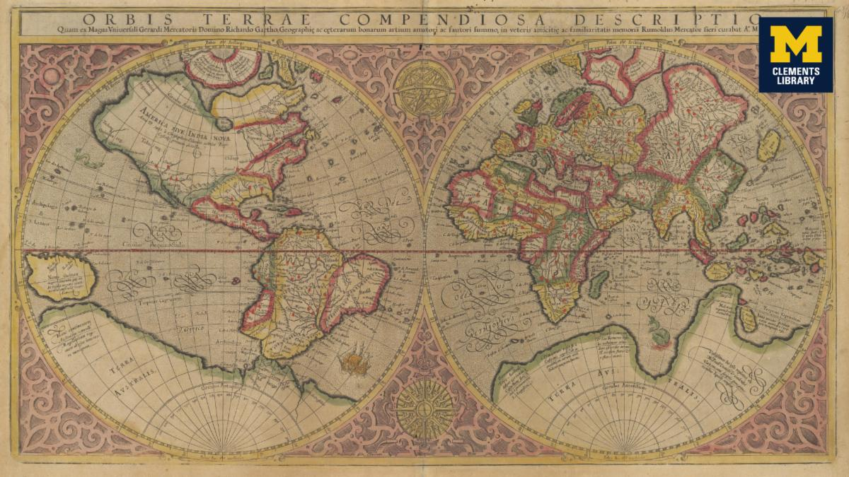 Mercator map with Clements logo