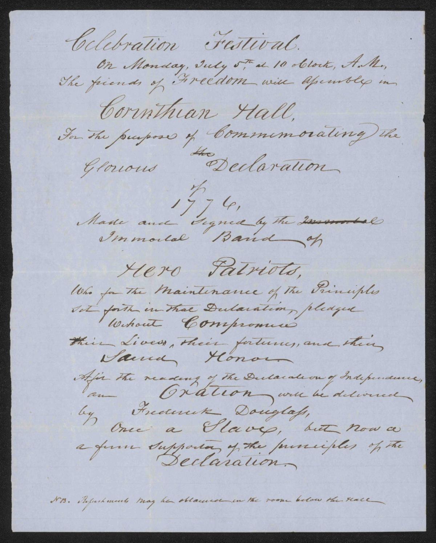 Manuscript broadside on light blue paper