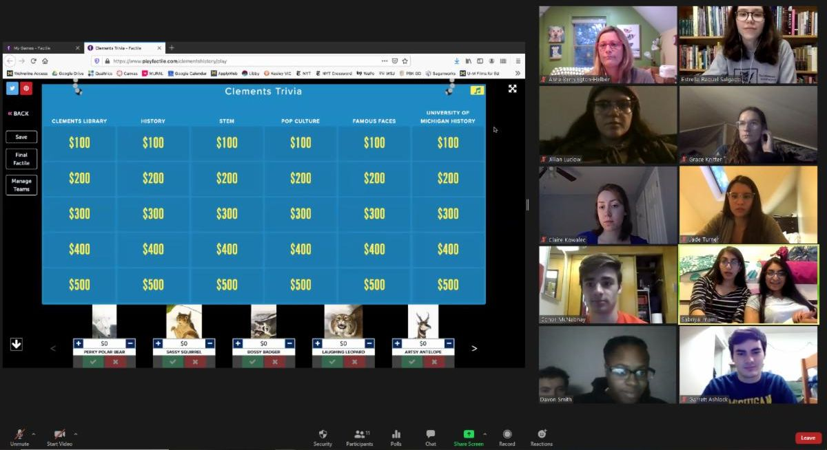 Zoom meeting with Jeopardy board