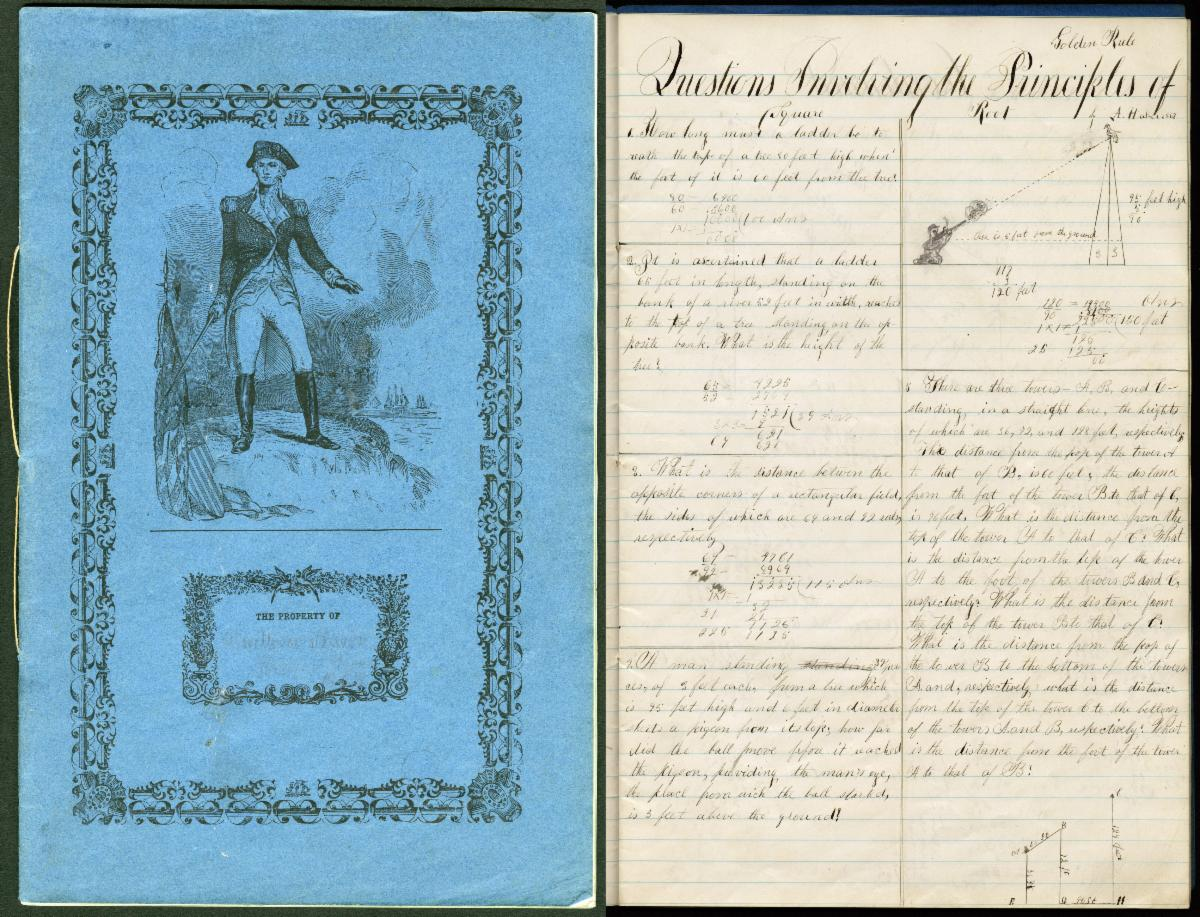 Blue cover and manuscript mathematics book