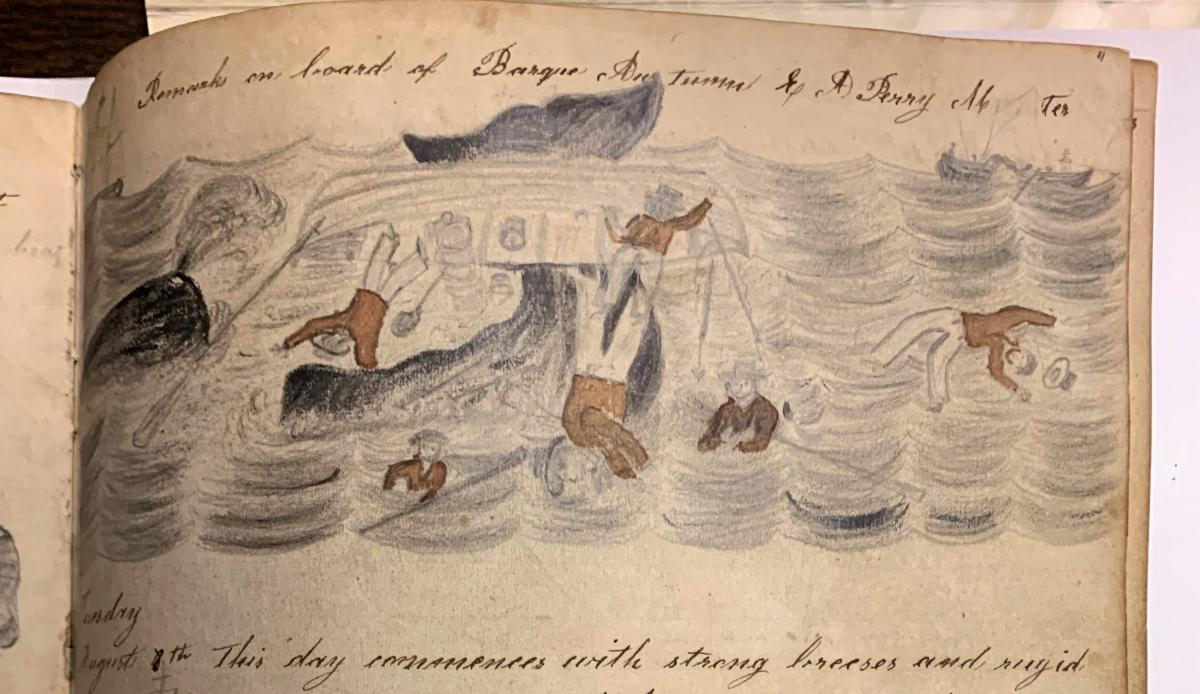 "A whale tail capsizes a boat, sketched in the Barque ""Autumn"" Abstract Logbook"