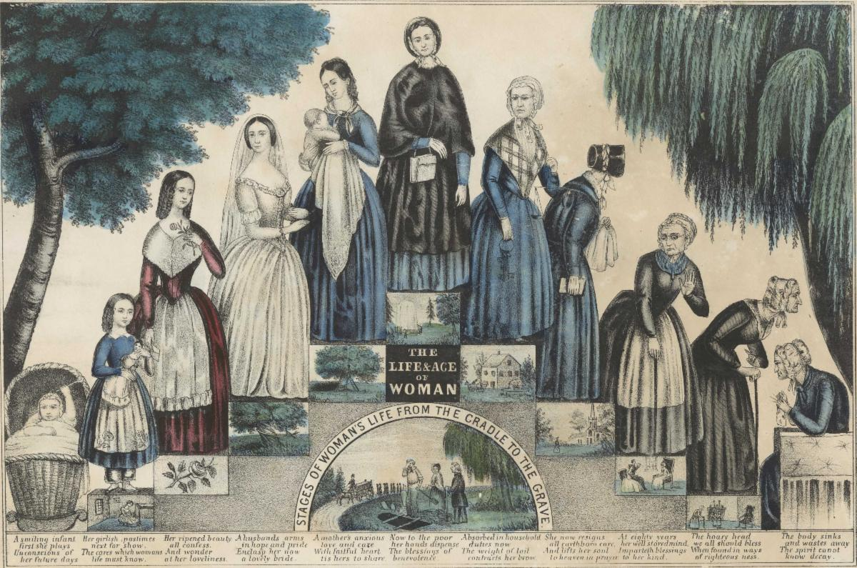 """""""The life & age of woman"""" print, ca. 1848"""