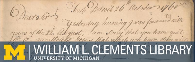 """Header image - manuscript letter book, """"Fort Detroit, October 1761"""""""