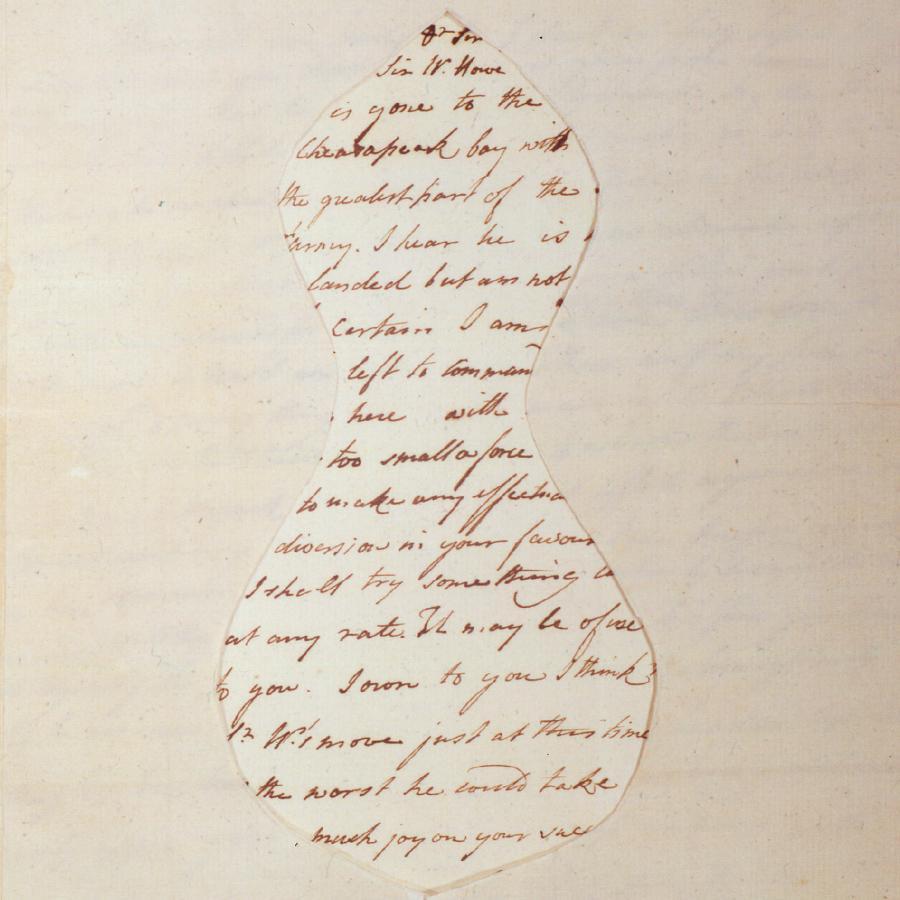 Manuscript with mask for secret spy message.