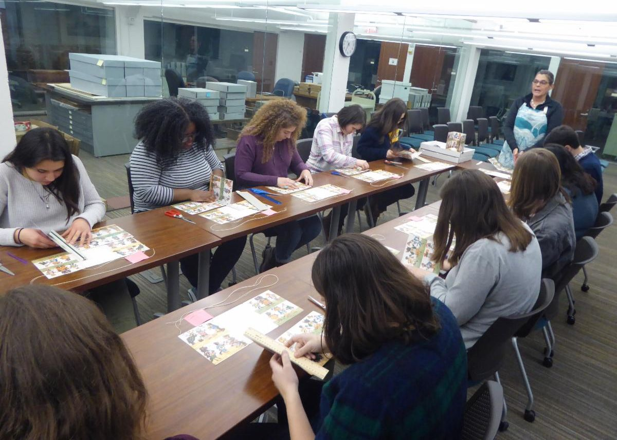 Students in bookmaking workshop