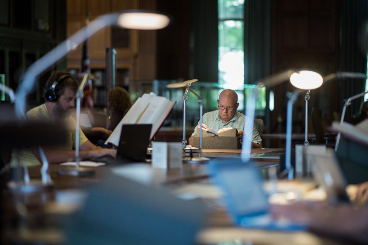 A busy day in the Clements Library reading room