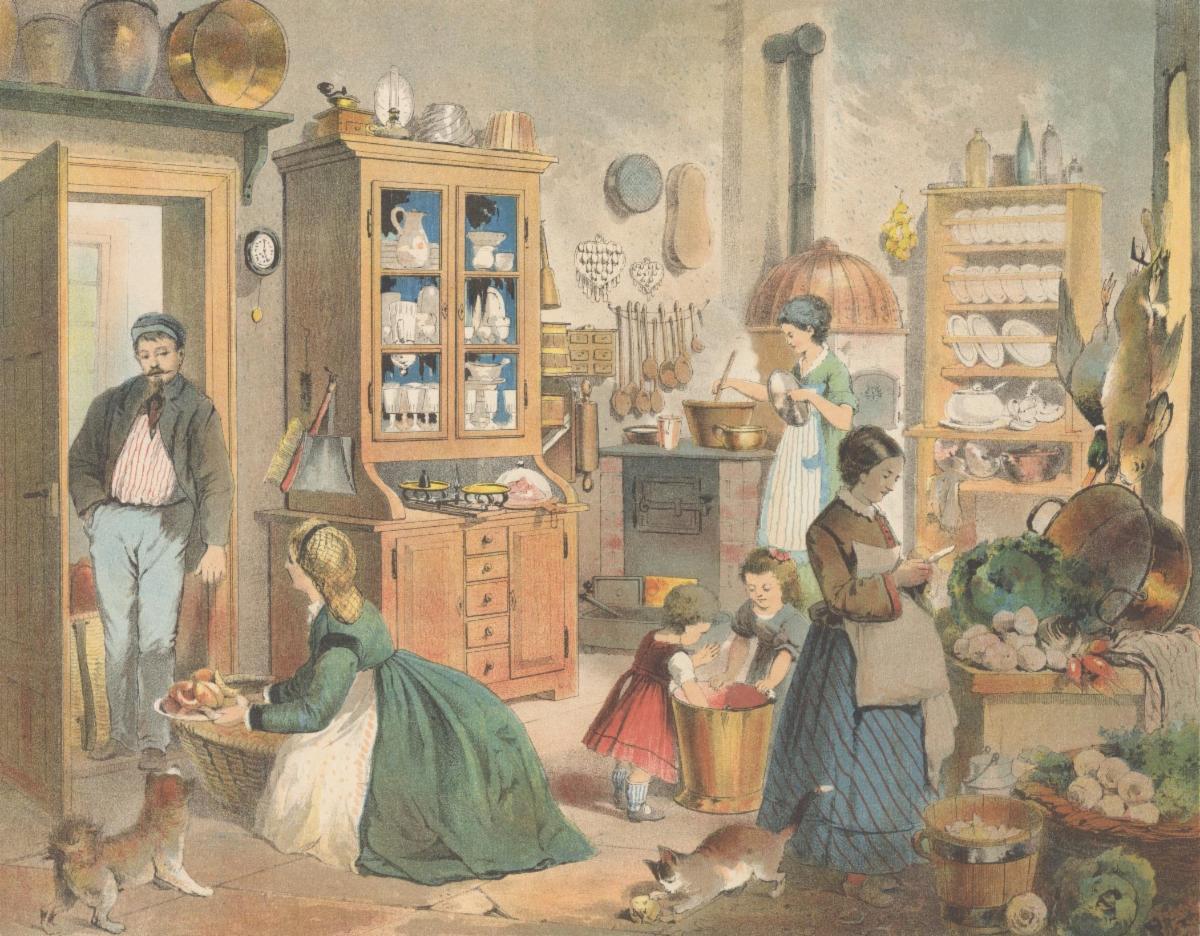 """Kitchen"" 19th century lithograph"