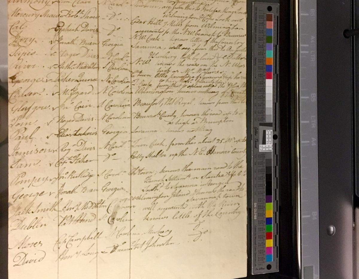 Manuscript next to a color target on a scanner