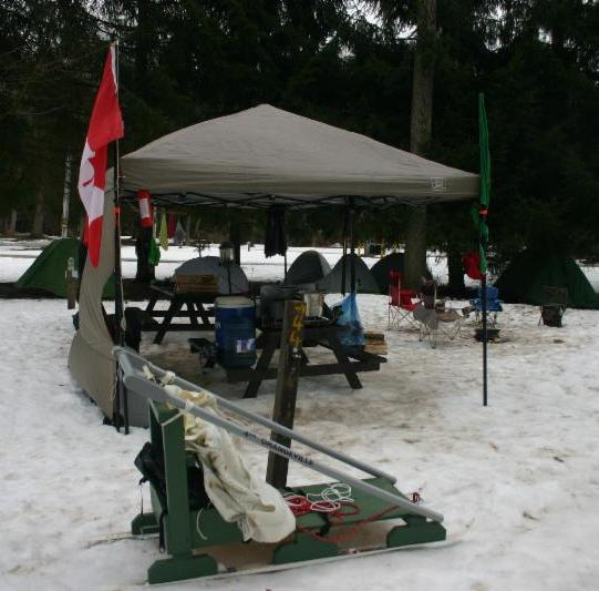Sunset Area Winter Camp - sled in snow